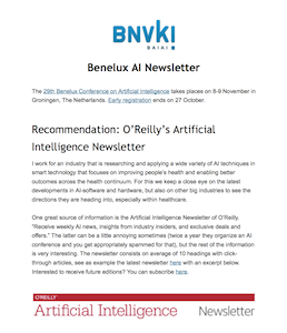 Benelux AI Newsletter Autumn 2017